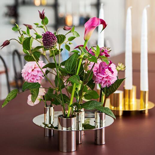Support à bougies/Vase réversible Un ensemble élégant pour 5 bougies, ou pour des fleurs odorantes. À simplement faire pivoter à 180° et à utiliser de nombreuses manières.