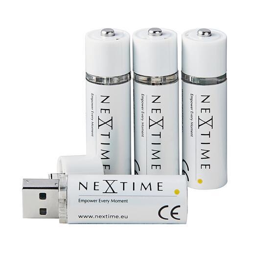 PilesAA rechargeable par USB, lot de 4pièces La nouvelle génération de piles rechargeables ne nécessite aucun chargeur ou câble. Facilement rechargeable sur tout port USB.