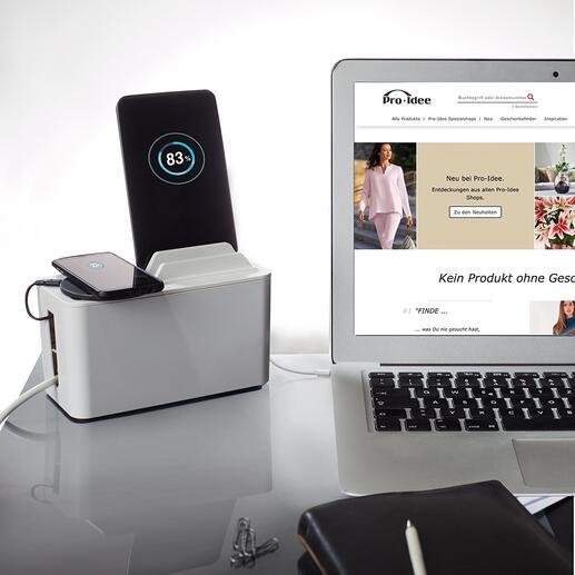Boîte de charge design «Mini Station» Une boîte design et moderne garde à portée de main, charge votre smartphone, tablette, liseuse … et dissimule les câbles et multiples prises.