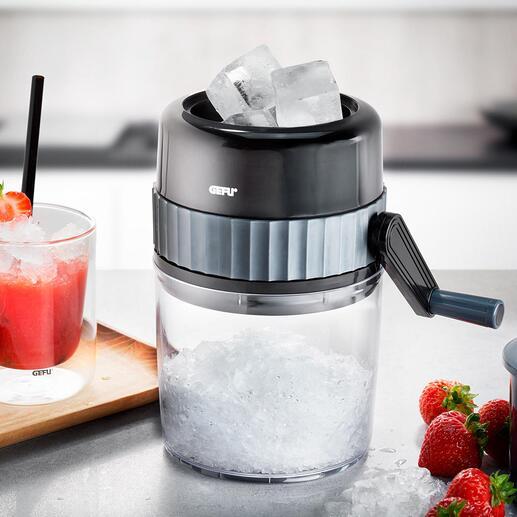 Broyeur à glace Ice Crusher par Gefu® De la glace pilée fraîchement moulue : plus facile et rapide que jamais. Sans électricité et sans effort. À utiliser partout.