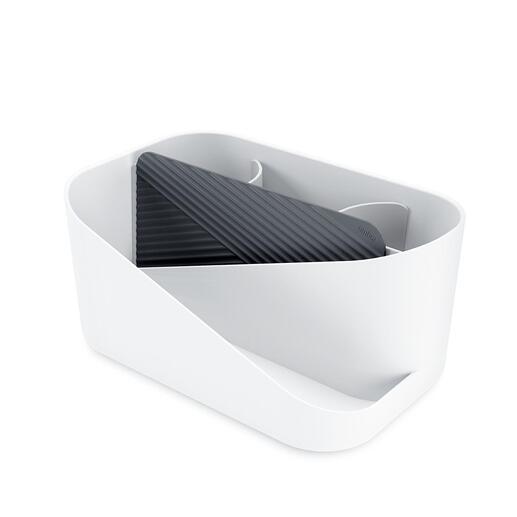 En synthétique blanc solide. Tapis en silicone fourni pour poser des appareils de coiffure chauffants.