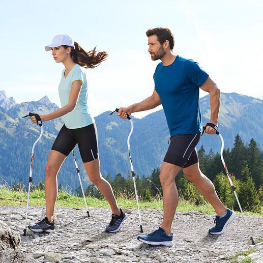 Bâtons de marche Ergocurve Conçus pour créer un déplacement efficace et sans effort. À une forme ergonomique pour soulager les épaules et le poignet.