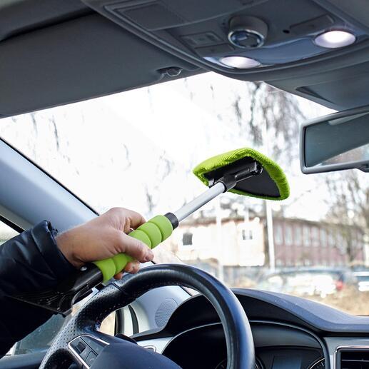 Nettoyeur de vitre et grattoir à glace combinés, lot de 2pièces Des vitres de voiture propres et une vue dégagée – rapidement, facilement et sans contorsions.