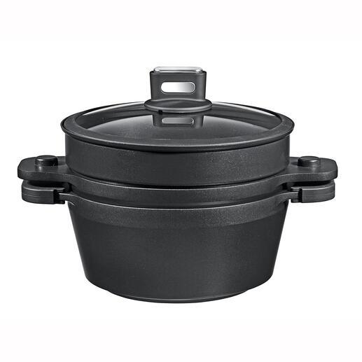 Casserole, poêle à frire et cuiseur vapeur en un seul objet: casserole de 5,5l avec couvercle en fonte d'aluminium inversé plus accessoire perforé et couvercle en verre.