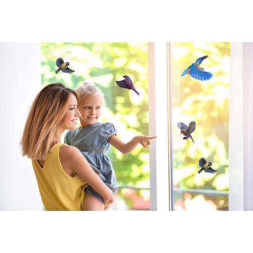 Stickers à la face intérieure colorée pour la protection des oiseaux, lot de 10pièces Cet accessoire réunit une protection des oiseaux et une jolie décoration. Facile à appliquer sur les vitres et à décoller sans résidus.