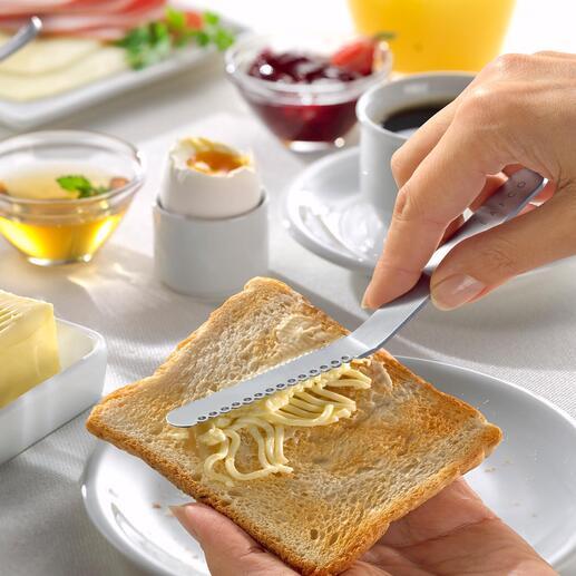 Couteau à beurre japonais Le couteau à beurre en provenance du Japon : il tire des fils du morceau de beurre en un rien de temps. Pas de grattage pénible. Pas de tartines déchirées.