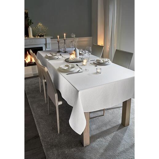 Nappes festives à l'aspect lin et à paillettes D'une élégance prestigieuse pour votre table de fête. Un luxe facile d'entretien et à un prix très réjouissant.