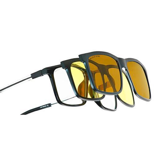 Système de lunettes 3-en-1 Eagle Eyes® Lunettes de soleil, de vision nocturne ou d'ordinateur : le tout en un clic. De Eagle Eyes®, États-Unis.