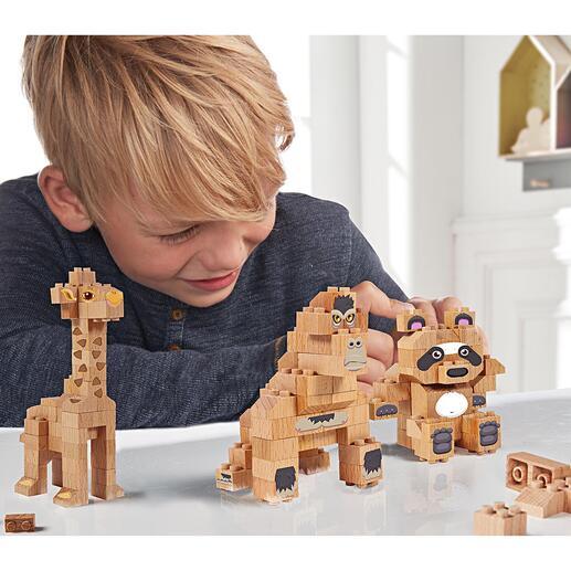 Blocs de construction en bois massif Pour créer un panda, une girafe, un gorille ou bien construire librement : des lots de blocs de construction en bois de hêtre. Un jeu amusant et durable.