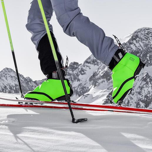 Sur-chaussures de ski SNÜX Plus de pieds froids dans les chaussures de ski, sans avoir besoin d'une batterie ou d'un câble. La sur-chaussure haute technologie et brevetée, en Cozytech® thermoactif.