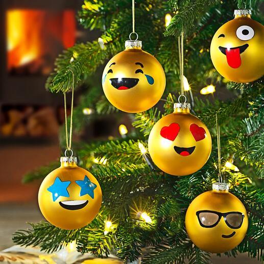 Boules de Noël émoticône, lot de 12pièces La langue universelle des émoticônes est maintenant disponible en boules de Noël amusantes.