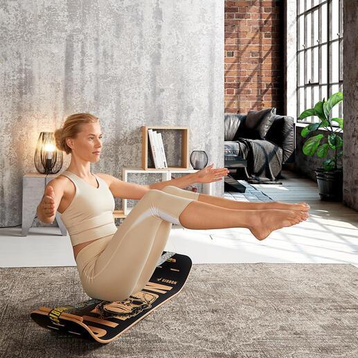 Kit Giboard Sport tendance pour faire travailler l'équilibre : le slacklining. Maintenant disponible dans une version compacte pour de petits espaces.
