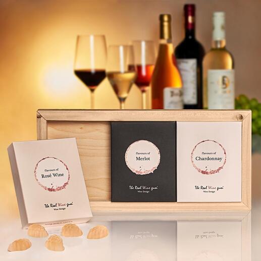 Trio The Real Wine Gum® Inspiré des cépages les plus nobles : The Real Wine Gum®. Une nouveauté dans le domaine de l'art de vivre et un délice luxueux pour les amateurs de vin.
