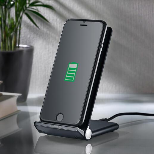 Support pour smartphone/Station de charge sans fil Un support pour smartphone ajustable en continu et une station de charge sans fil en un seul objet.