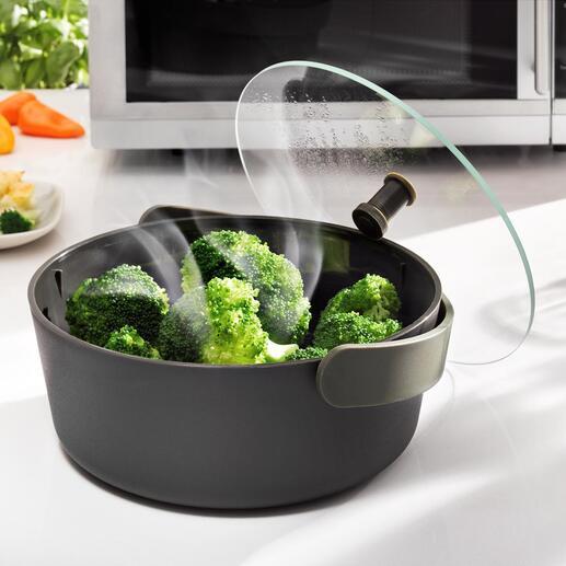 Cuiseur vapeur au micro-ondes Faire cuire des légumes à la vapeur, rapidement et en douceur – désormais tout simplement au micro-ondes.