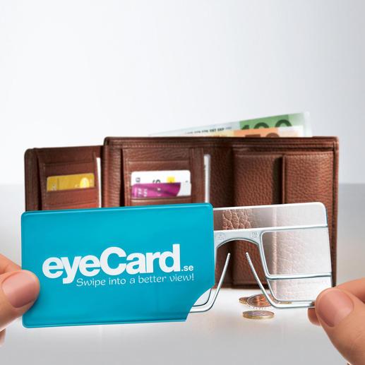 Rangée dans son étui en plastique pratique, votre eyeCard® vous accompagnera partout où vous allez.