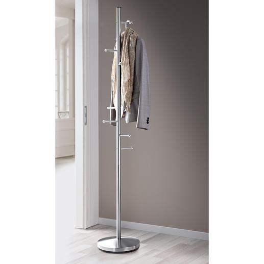 Portemanteau inox 8 crochets pour les manteaux, vestes & autres – peu encombrant. En acier inoxydable robuste.
