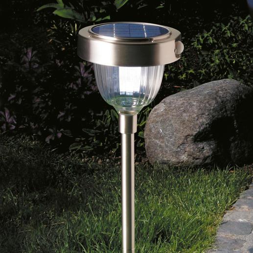Lampe solaire intelligente Technique DEL de pointe avec 2 intensités de lumière, un détecteur de mouvement et de crépuscule incorporé.