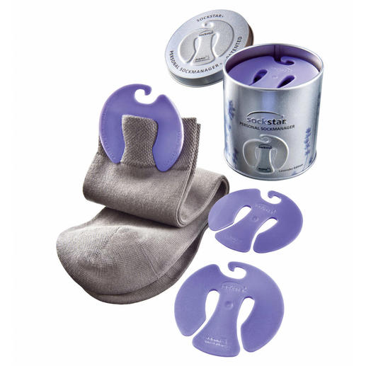 Clip chaussettes «sockstar®» Voici le clip astucieux avec parfum de lavande fraîche qui maintient les chaussettes par paires.