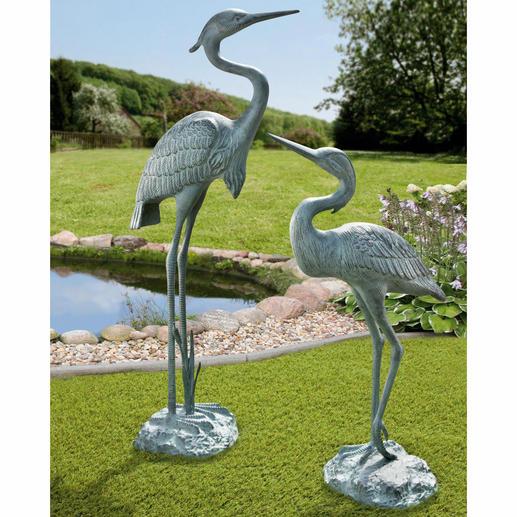 Héron cendré alu vert-de-gris, 67 cm ou 90 cm Presque grandeur nature & joliment patinées. Objet esthétique & élégant toute l'année. Aluminium résistant.