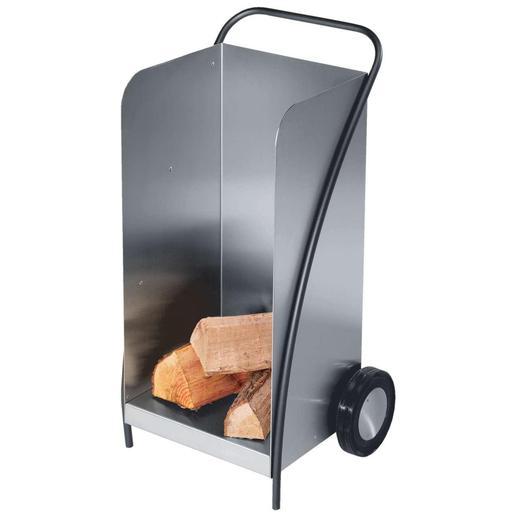 Le chariot pour bois de cheminée Avec le chariot à bois en acier inoxydable vous n'aurez plus jamais de lourds paniers à porter péniblement.