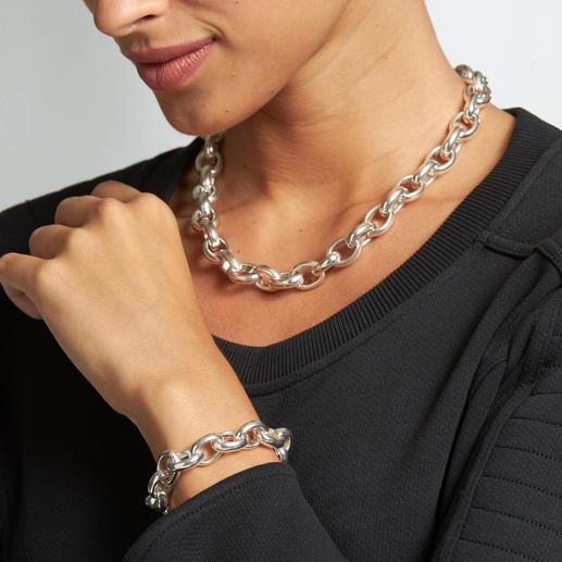 Chaîne ou Bracelet maille forçat Taille imposante, argent Sterling massif : version de luxe des fameuses mailles forçat.