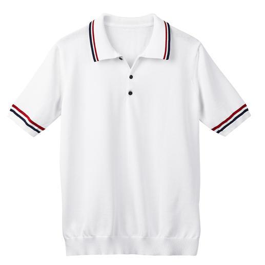 Polo de tennis au tricot fin La version noble des polos tricotés actuels au style tennis. Tricot aéré en coton 3 fois plus noble.