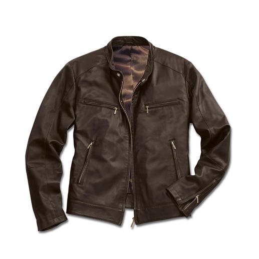Veste en cuir de renne 800 g Seulement 800 grammes : un cuir rare, du nappa de jeune renne, doux comme la soie et étonnamment robuste.