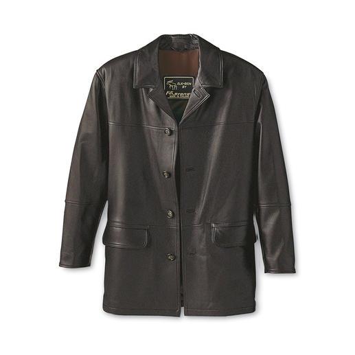 Veste en cuir d'élan Une belle veste dont on ne se lasse jamais, en rare cuir d'élan. Une pièce unique souple et douce.