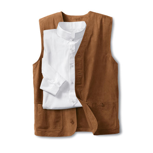 Gilet en cuir lavable Passez votre gilet favori au lave-linge, il en ressortira comme neuf ! En cuir chèvre velours ultra doux.