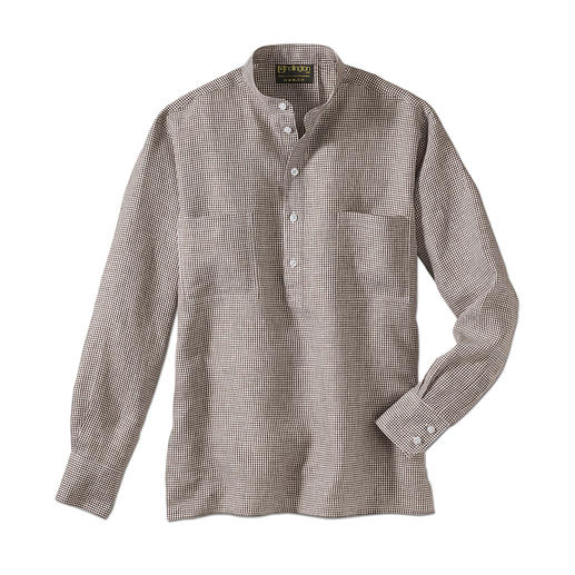 La chemise Nehru en lin La véritable chemise col officier par Hollington.