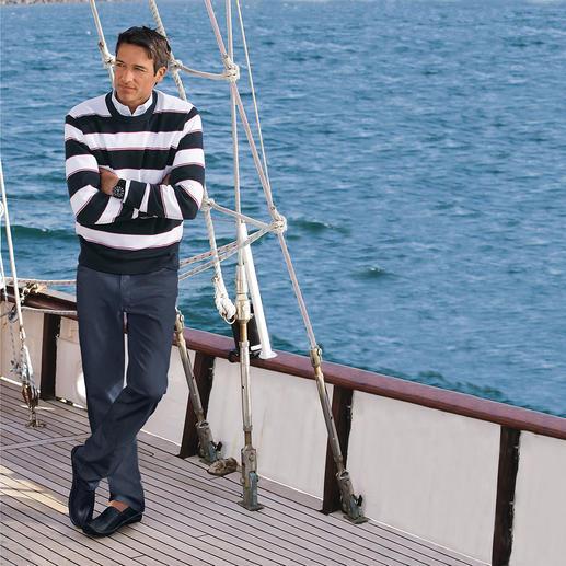 Pull en coton pima « Maritime Stripes » Léger, aérien et doux comme une caresse sur la peau : un pull en rare coton pima.