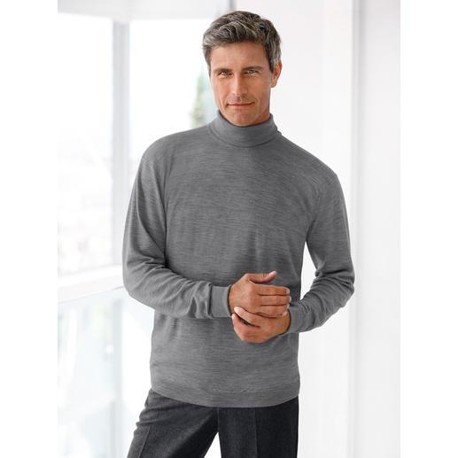 Pull à col roulé ou à col V John Smedley Le pull en fine laine de mérinos pèse moins de 300 grammes. Et trouve sa place dans toute serviette en cuir.
