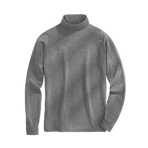 Pull à col roulé John Smedley Le pull en fine laine de mérinos pèse moins de 300 grammes. Et trouve sa place dans toute serviette en cuir.