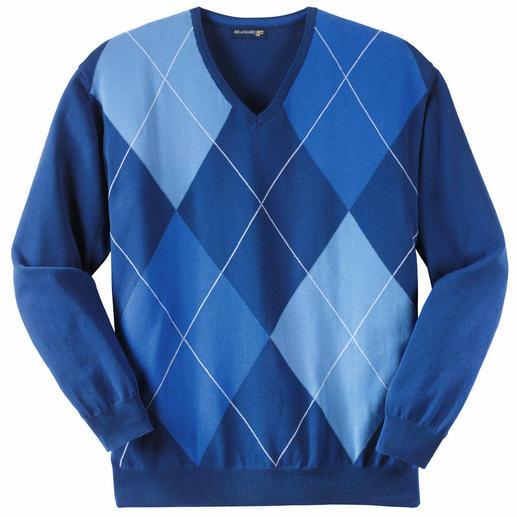 Pull à losanges « Azzurro » Les trois différents tons de bleu permettent une très grande variété de combinaison.
