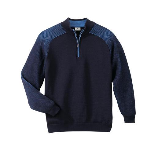Pull Stereo-System® Le pull qui tient chaud et ne gratte pas. De la laine mérinos à l'extérieur, du pur coton à l'intérieur.