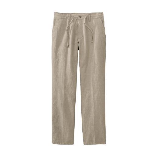Pantalon confort à cordon coulissant Un pantalon d'été confortable peut également être tendance. En mélange coton/lin, aéré et frais.