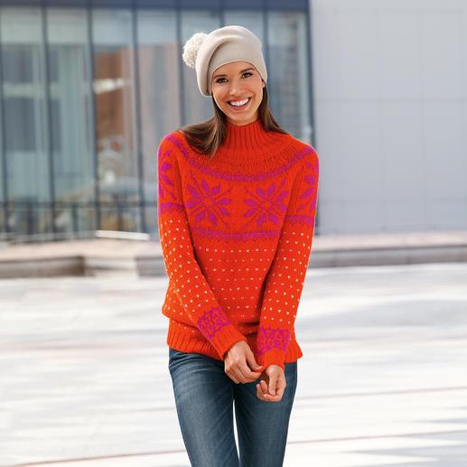 Pull norvégien alpaga « Snowflake » Incroyablement doux. Étonnamment robuste et haut en couleur.