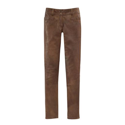 Pantalon vintage en cuir souple d'agneau Du cuir d'agneau souple, travaillé avec le plus grand soin et fini à la main.