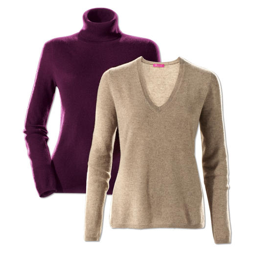 Pull col en V ou Pull col roulé en cachemire de FTC Aéré comme un shirt. Mais dans un cachemire ultra doux de la meilleure qualité.