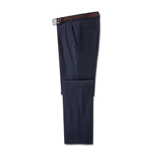 Pantalon lavable en laine vierge Le pantalon business idéal pour l'été. En laine vierge fine Super 110. Frais. Confortable. Et même lavable.