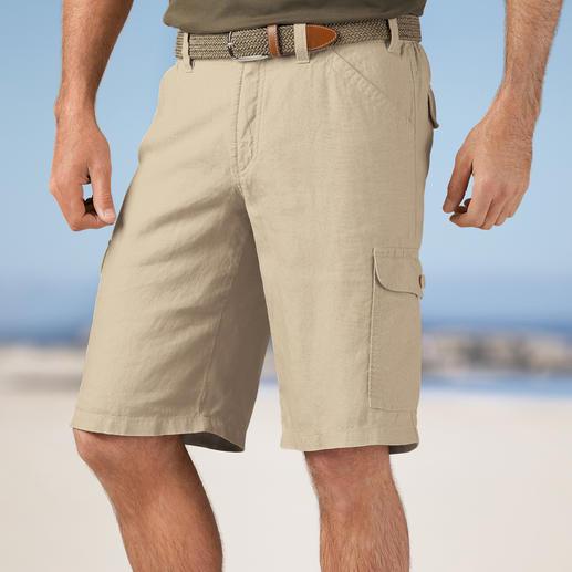 Bermuda cargo en lin Hoal Parfait pour les vacances : le bermuda raffiné en lin italien. Aérien et léger. Sept poches pratiques.