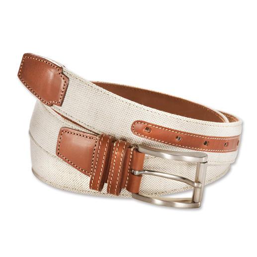 Ceinture italienne en lin et cuir Légère, élégante et de bonne tenue : la ceinture en lin doublée de cuir.