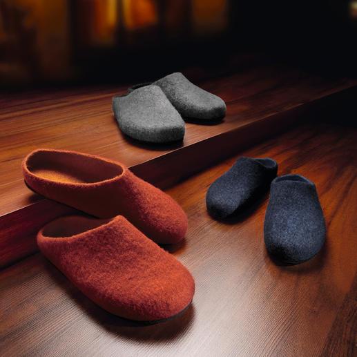 Les pantoufles en feutre Une pantoufle sans coutures, en pure laine vierge foulée. Pour homme et femme.