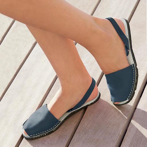 Avarcas de Menorca, Jean Des sandales de Minorque, confectionnées à la main et éprouvé au cours des étés les plus chauds.