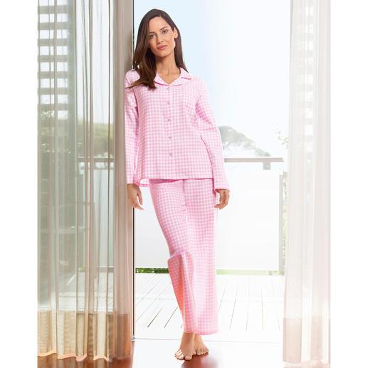 Pyjama de flanelle NOVILA  « carreaux Vichy » Le pyjama idéal pour une bonne impression dès le matin.