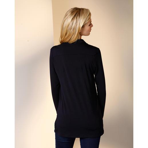 Chemisier long Tencel® Le chemisier long en précieux jersey Tencel®. Aussi confortable qu'un T-shirt. Aussi élégant qu'un chemisier.