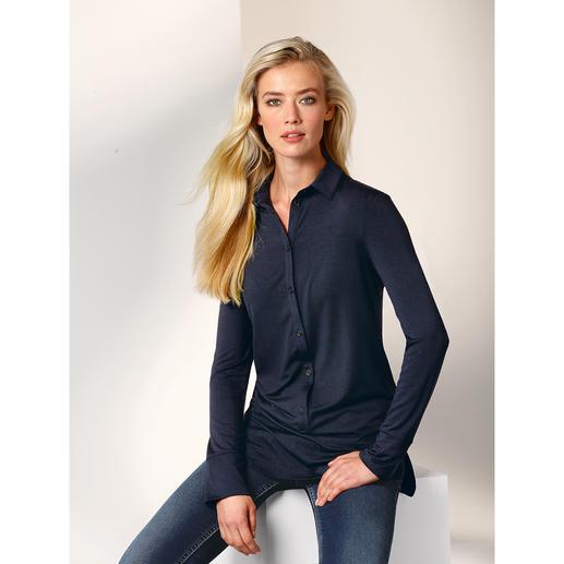 Chemisier long Tencel® Le chemisier long en précieux jersey Tencel®. Aussi confortable qu'un pull. Aussi élégant qu'un chemisier.