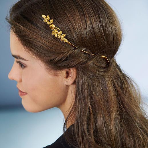 Couronne de déesse, Avigail Adam Un bijou tendance et stylé pour tous types de coiffure. Doré. Avec fleurs et feuilles forgées à la main.