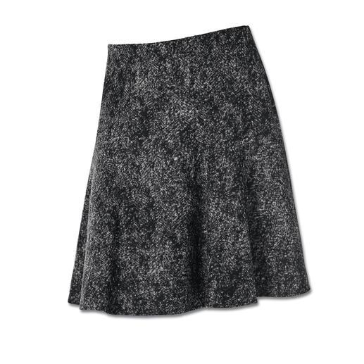 Jupe en jersey de laine Michèle Aspect tweed revisité en version légère comme jersey de laine ultra-doux.